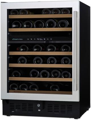 237 02 46 04 24 inch  N'Finity Pro S Dual Zone Wine Cooler with 46 Bottle Capacity  Cool Blue LED Lighting  Digital Climate Control  Charcoal Filter  in Stainless