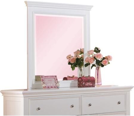 Lacey Collection 30600 35 inch  x 39 inch  Mirror with Rectangle Shape  Raised Panels and Pine Wood Construction in White