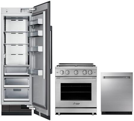 3-Piece Stainless Steel Kitchen Package with DRR24980RAP 24 inch  All Refrigerator  RNRP30GSNG 30 inch  Slide-in Gas Range  and DDW24M999US 24 inch  Fully Integrated