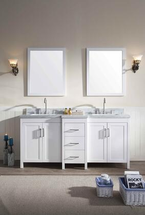 E073DWHT Ariel Hollandale 73 inch   Double Sink Vanity Set with Marble Top  Mirror  Three Drawers and Four Doors in
