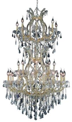 2801D36SG/RC 2801 Maria Theresa Collection Large Hanging Fixture D36in H56in Lt: 32+2 Gold Finish (Royal Cut