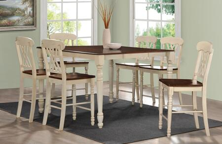 Dylan Collection 70430T6C 7 PC Bar Table Set with Counter Height Table + 6 Counter Height Chairs in Buttermilk and Oak