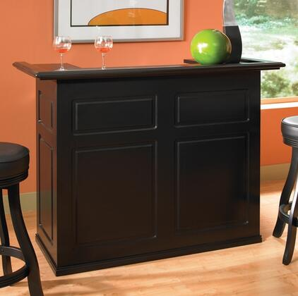 "Trenton Series 600037BLK-RF 58"" Bar with Open Space for a Fridge  Storage Shelving  and Decorative Front Panels in"