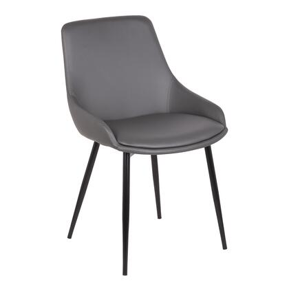 Mia Collection LCMICHGREY Contemporary Dining Chair in Gray Faux Leather with Black Powder Coated Metal