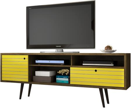 """Liberty Collection 202AMC94 71"""" Mid Century - Modern TV Stand with Solid Wood Legs  4 Shelving Spaces and 1 Drawer in Rustic Brown and"""
