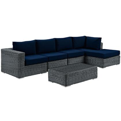 Summon Collection EEI-1900-GRY-NAV-SET 5-Piece Outdoor Patio Sunbrella Sectional Set with Coffee Table  Corner Section  Right Arm Chaise and 2 Armless Chairs