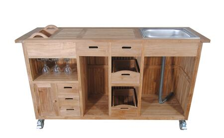 "Safari Collection TB-6620BT 67"" Bar Table with 8 Drawers  1 Door  1 Removable Bucket and a Sink in Natural"