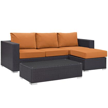 Convene Collection EEI-2178-EXP-ORA-SET 3-Piece Outdoor Patio Sofa Set with Coffee Table  Ottoman and Sofa in
