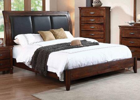 Noble Collection B219-30 Queen Size Sleigh Bed with Padded Upholstered Headboard  Low Profile Footboard  Tapered Legs and Solid Wood Construction in Vintage