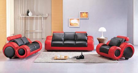 VGEV4088-2 Divani Casa 4088 - Contemporary Black and Red Leather Sofa