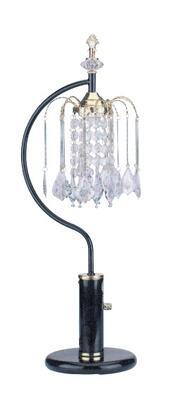 03720BK Chandelier Table Lamp  Black Metal and Crystalline