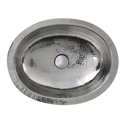 Brightwork Home Collection OVS-OF 18 inch  Hand Hammered Stainless Steel Oval Undermount Bathroom Sink With