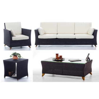 PR90-SET-W 4-Piece Patio Set with Sofa  Arm Chair  Coffee Table and Side Table in