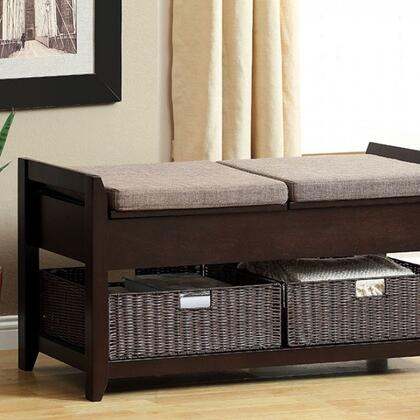 Muri CM-BN6301 Storage Bench  with Contemporary Style  2 Cushions Included  Storage Bench with 2 Faux Rattan Baskets  Espresso Finish in