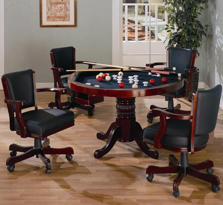 Mitchell 100201TC 5 PC Game Room Set with Game Table + 4 Arm Game Chairs in Merlot 713069