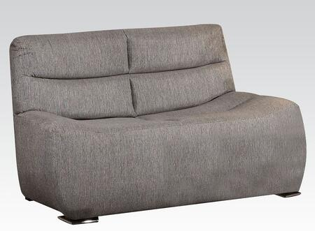 Kainda Collection 51721 61 inch  Loveseat with Chrome Legs  Wood Frame  Tight Back and Seat Cushions and Linen Upholstery in Grey