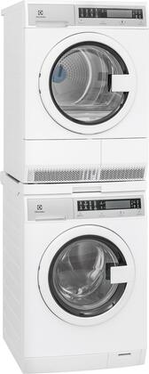 White Compact Front Load Laundry Pair with EFLS210TIW 24 inch  Washer  EFDE210TIW 24 inch  Electric Dryer and STACKIT24 Stacking