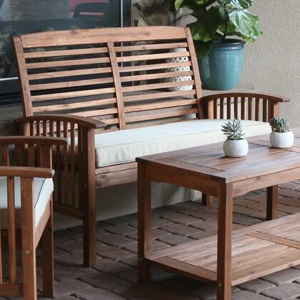 OWLSBR Acacia Wood Patio Loveseat Bench -
