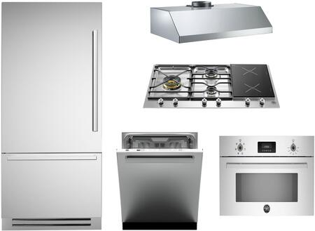5-Piece Stainless Steel Kitchen Package with REF36PIXL 36 inch  Bottom Mount Refrigerator  PM363I0X 36 inch  Gas Cooktop  PROSO30X 30 inch  Electric Single Wall Oven
