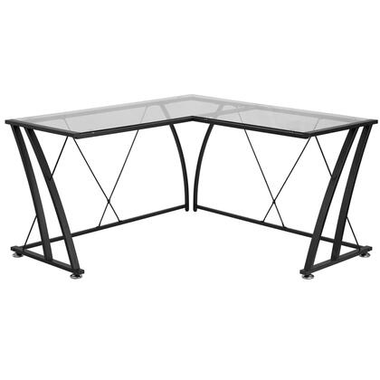 NAN-WK-096-GG Glass L-Shape Computer Desk with Black Frame