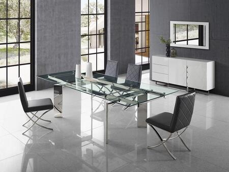 Euphoria Collection CB095LCSET 6 PC Dining Room Set with Extendable Stainless Steel Dining Table  White Buffet and 4 Black Eco-Leather Upholstered Dining