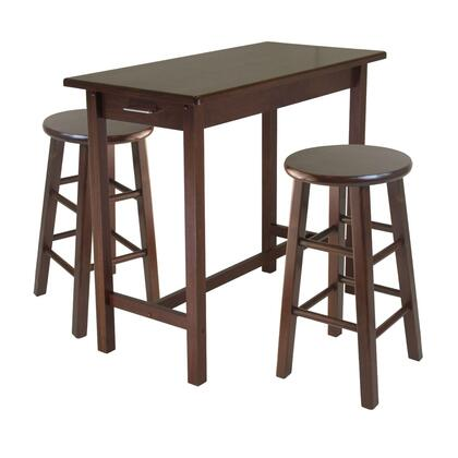 94342 3-pc Kitchen Island Set With 2 Square Leg Stools In Walnut