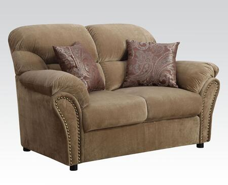Patricia Collection 51951 65 inch  Loveseat with 2 Pillows Included  Pocket Coil Seating  Nail Head Trim  Solid Wood Frame and Velvet Upholstery in Light Brown