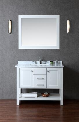 SCBAY42SCG Bayhill 42 Single-Sink Bathroom Vanity Set with Marble Top  Block Feet  Simple Pulls and Mirror in Cloud