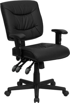 GO-1574-BK-A-GG Mid-Back Black Leather Multi-Functional Task Chair with Height Adjustable