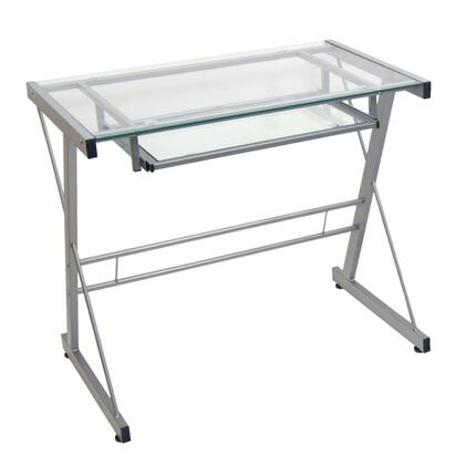 D31S29 Solo Desk with Glass Surface  Glass Keyboard Tray  and Steel Construction in