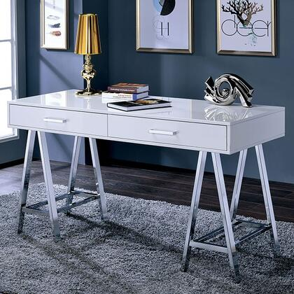 Liv CM-DK6133WH Computer Desk with Contemporary Style  Angled Chrome Legs  Metal Hardware  2 Drawers in