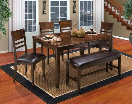 4015011HCCB Latitudes 6 Piece Dining Room Set with Cut Corner Table  4 Horizontal Slat Chairs and 1 Bench  in