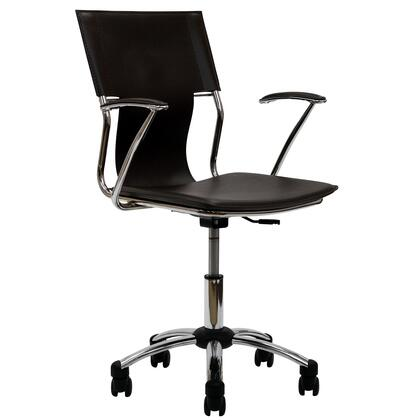 Studio Collection EEI-198-BRN Office Chair with Adjustable Height  Casters  Modern Style  Tension Control Knob  Aerodynamic Arms  Chrome Plated Steel Base and