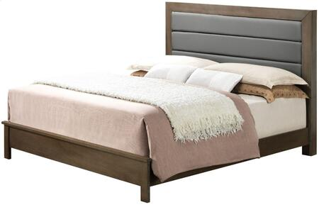 G2405A-QB Queen Size Panel Bed with Upholstered Headboard and Wood Construction in Grey