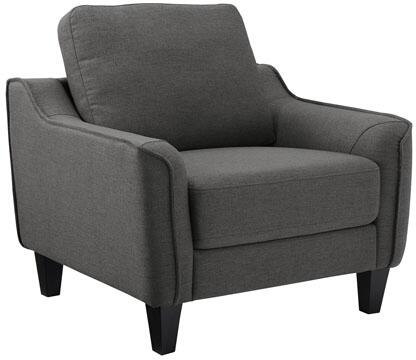 Jarreau 1150220 Chair with Tapered Legs  Piped Stitching and Fabric Upholstery in