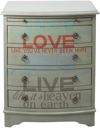 DS-D115002 Words of Wisdom Drawer Chest with Curved Top and Front  Four Drawers and Pull Out Tray for Storage and Antiqued Brass Finished Hardware in Grey Base