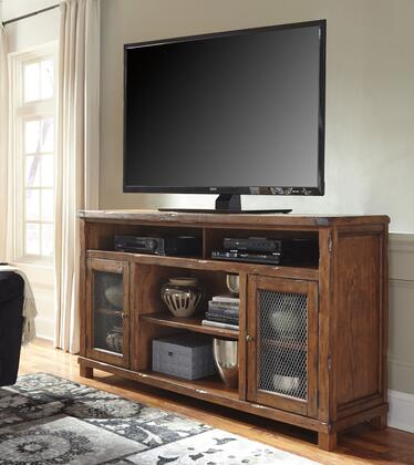 Tamonie W830-68 72 Extra Large TV Stand with Fireplace Option  Wire Mesh Door Fronts  Adjustable Center Shelf and Chisel Gouged Details in Rustic
