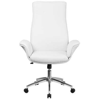 BT-88-WH-GG High Back White Leather Executive Swivel Chair with Flared