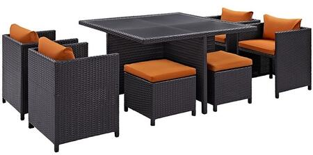 Inverse Collection EEI726EXPORA 9 PC Outdoor Patio Dining Set with 4 Chairs  4 Stools  Tempered Glass Top Table and All-Weather Rattan Construction in Espresso