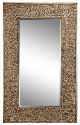 Roslyn Estate Collection 13437 88 inch  x 53 inch  Wall Mirror with Romantic Rose Pattern  Metal Frame and Powder Glaze in