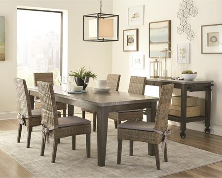 Davenport Collection 1079418set 8 Pc Dining Room Set With Dining Table + 6 Side Chairs + Kitchen Island In Rustic Brown And Aged Patina