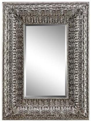 Kenna Manor Collection 13455 76 inch x 43 inch  Wall Mirror with Fleur Patterned Frame  Rectangular Shape and Warm Umber Tones in
