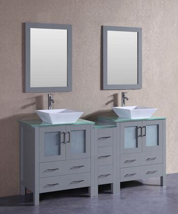 AGR230SQCWG1S 72 inch  Double Vanity with Clear Tempered Glass Top  Flared Square White Ceramic Vessel Sink  F-S02 Faucet  Mirror  4 Doors and 7 Drawers in