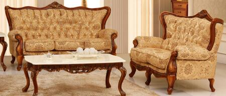 995FBEIGES2SET Traditional 2 Piece Livingroom Set  Sofa and Loveseat in Beige with Matte Walnut