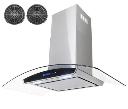 GWRKZ436P 36 inch  Wall Mount Range Hood with 760 CFM  65 dB  Innovative Touch  1.5W LED Lighting  4 Fan Speed  Aluminum Grease Filter and Ductless: Stainless