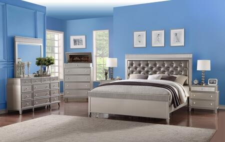 Geneva Collection GENEVA KING BED SET 6-Piece Bedroom Set with King Size Bed  Dresser  Mirror  Chest and 2 Nightstands in