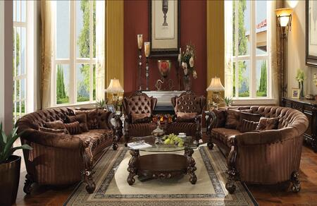Versailles Collection 520807PC 7 PC Living Room Set with 2 Sofas + 2 Accent Chairs + 2 End Tables + Coffee Table in Cherry Oak