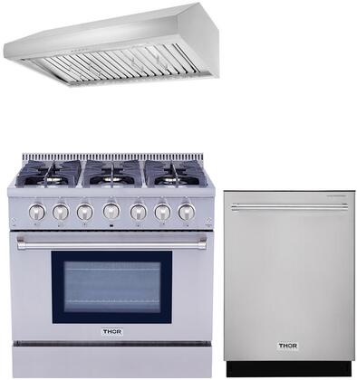 3-Piece Stainless Steel Kitchen Package with HRG3618U 36 inch  Dual Fuel Freestanding Range  HRH3606U 36 inch  Under Cabinet Range Hood  and HDW2401SS 24 inch  Built In