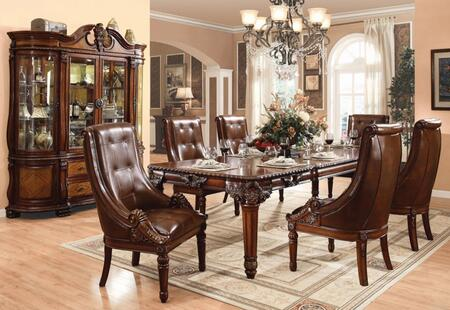 Winfred Collection 600758TCHB 8 PC Dining Room Set with Dining Table + 6 Side Chairs + China Cabinet in Cherry