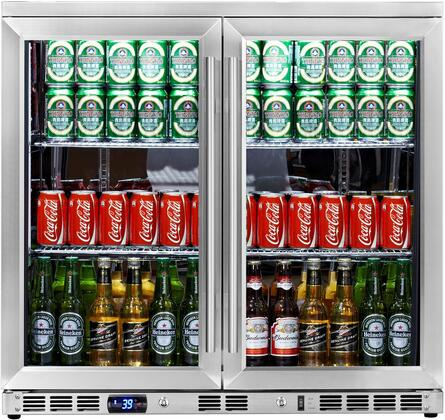 KBU-56-SS 36 inch  2 Glass Door Undercounter Beverage Cooler with x Can Capacity  Chrome Shelves  Heated LOW E-Glass  Lock and Stainless Steel Interior and